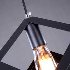 out of stock american rural industrial retro style iron craft black cube pendant light