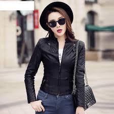 plus size new fashion spring autumn women leather coat female slim black leather jacket pu zippers