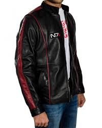 n7 mass effect 3 black leather jacket