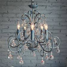 iron and crystal chandelier antique 5 light wrought blue 19th c rococo medium