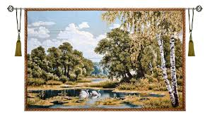 forest landscape with swans large tapestry wall hanging wood scene h50 x w77