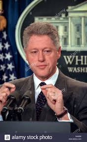 US President Bill Clinton makes a statement in the Briefing Room of the  White House November 15, 1998 in Washington, DC. Clinton announced that he  called ...