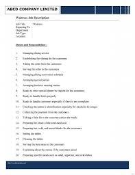 Sample Resume For Waiter Positionwaitress Waitress Skills