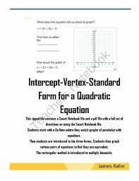 standard form of a linear equation worksheet fresh intercept vertex standard form for a quadratic equation