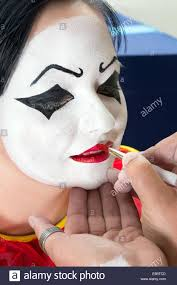 Girl Clown Face Designs Pierrot Clown Woman Getting Her Face Painted Stock Photo