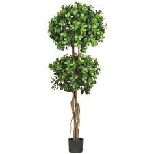 Decorative Indoor Trees Nearly Natural 55 Ft Green Eucalyptus Double Ball Topiary Silk
