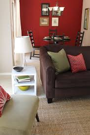 Transitional Style with Sage Green Accents and Red Walls contemporary-living -room