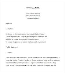Resume Template For Cashier Job Best of Cashier Resume Template 24 Free Samples Examples Format