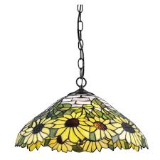 serena d italia tiffany 2 light sunflower bronze hanging lamp