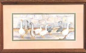 """Watercolor Print """"Geese"""" by Ava Freeman-S - Oct 11, 2014   WorldCrest  Auctions, Inc in TX"""