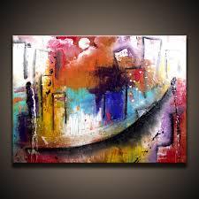 acrylic city abstract cityscape painting original art