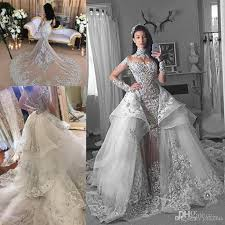 spaekly crystal mermaid wedding dresses with detachable train 2017