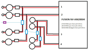 in the top diagram front speakers are wires as 4 channels the amplifier sees a 4 ohm load on each channel