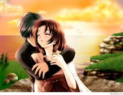 cute cartoon love couple wallpaper