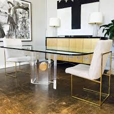 lucite and brass dining table base with glass top a round glass top will look