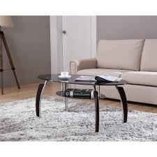 hodedah oval tempered glass 2 tier coffee table with wooden legs in black