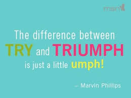 Image result for the difference between try and triumph