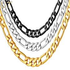 u7 mens necklaces snless steel black gold color dropshipping whole 5mm choker long figaro
