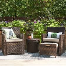 Threshold Halsted 5 Piece Wicker Small Space Patio Furniture Set