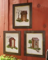 guest bath on primitive outhouse bathroom wall art set of 3 with outhouse framed print trio primitive wall decor outhouse bath