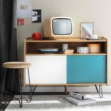 Tv Lowboard Im Vintage Stil Aus Holz B 105 Cm Weißblau
