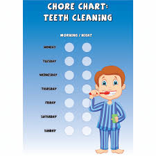Teeth Cleaning Sticker Chart Boys Chore Chart Teeth Cleaning