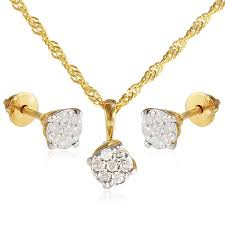 vera perla 18k solid gold 0 21ct genuine diamond solitaire pendant necklace earring set