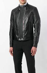 mens black double zip leather jacket
