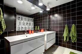 white beadboard bathroom. Grand Rapids White Beadboard Bathroom Vanity Contemporary With Ceiling Lighting Polished Mosaic Tiles Black Tile Wall