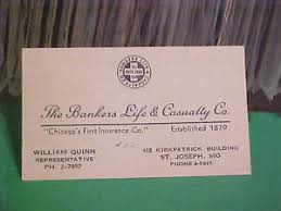 Bankers Life And Casualty Vintage Calling Business Card The Bankers Life Casualty Co St
