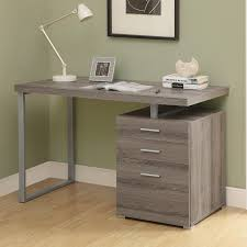 exquisite beige finish cherry corner desk with grey polished steel legs be equipped double drawers and