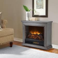 freestanding mobile infrared electric fireplace in dark weathered gray