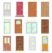 modern old doors icons set house flat design isolated vector ilration stock vector 71268913