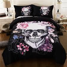 seisyuku flowers skulls black bedding