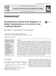 Pdf Contemporary Chinese Pulse Diagnosis A Modern