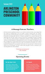 February Newsletter Template Preschool Newsletter