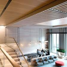 office ceilings. Light Wood Tiles Were Used With A Contrasting Black Suspension System To  Create An Elegant Aesthetic Office Ceilings E