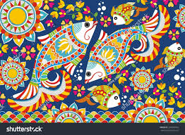indian folk painting madhubani painting fish