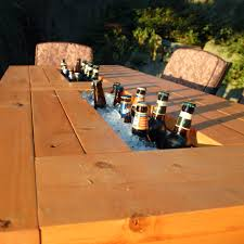 patio table with built in beer wine coolers with liids
