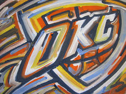 Okc Thunder Bedroom Decor Oklahoma City Thunder Painting By Justin Patten Sports Art