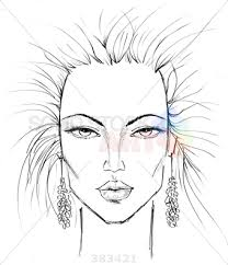 stock photo of sketch of womans face makeup template with angular cheeks and frilly earrings
