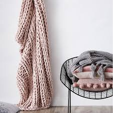 dusty pink throw blanket unconvincing home republic chunky knit rib homewares throws interior design 9