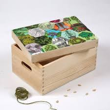 solid wood storage box for seeds patchwork of hexagonal images of leaves and veg decoupaged