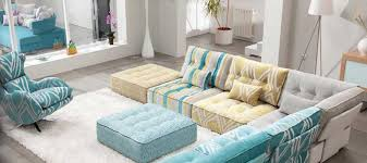 View in gallery Fama Arianne Low Cushion Seating in Blue and yellow