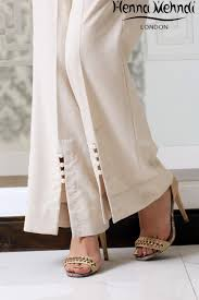 Pakistani Designer Pants Cream Embellished Trousers Fashion Pants Ladies Cotton
