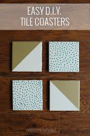 diy tile coasters this was so easy and plain white tiles cost 13 cents each