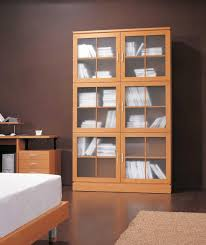 bookshelf astonishing modern bookcase with doors wonderful wall brown books inside and cabinets bookcases deep pier