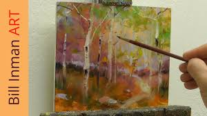 art class demo oil painting aspen trees 8 7 14 by bill inman art you