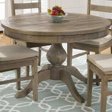 Jofran Reclaimed Pine Round To Oval Dining Table With Leaf Beyond