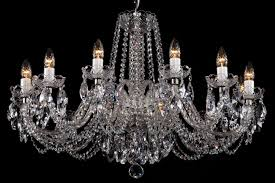 a crystal chandelier with silver coloured metal suitable for low ceilings